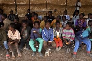 group of children eating